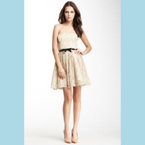 💜 Max & Cleo Nude Lace Belted Strapless Dress